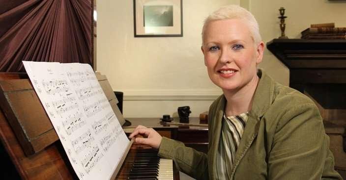 Ailís at the Brontë piano
