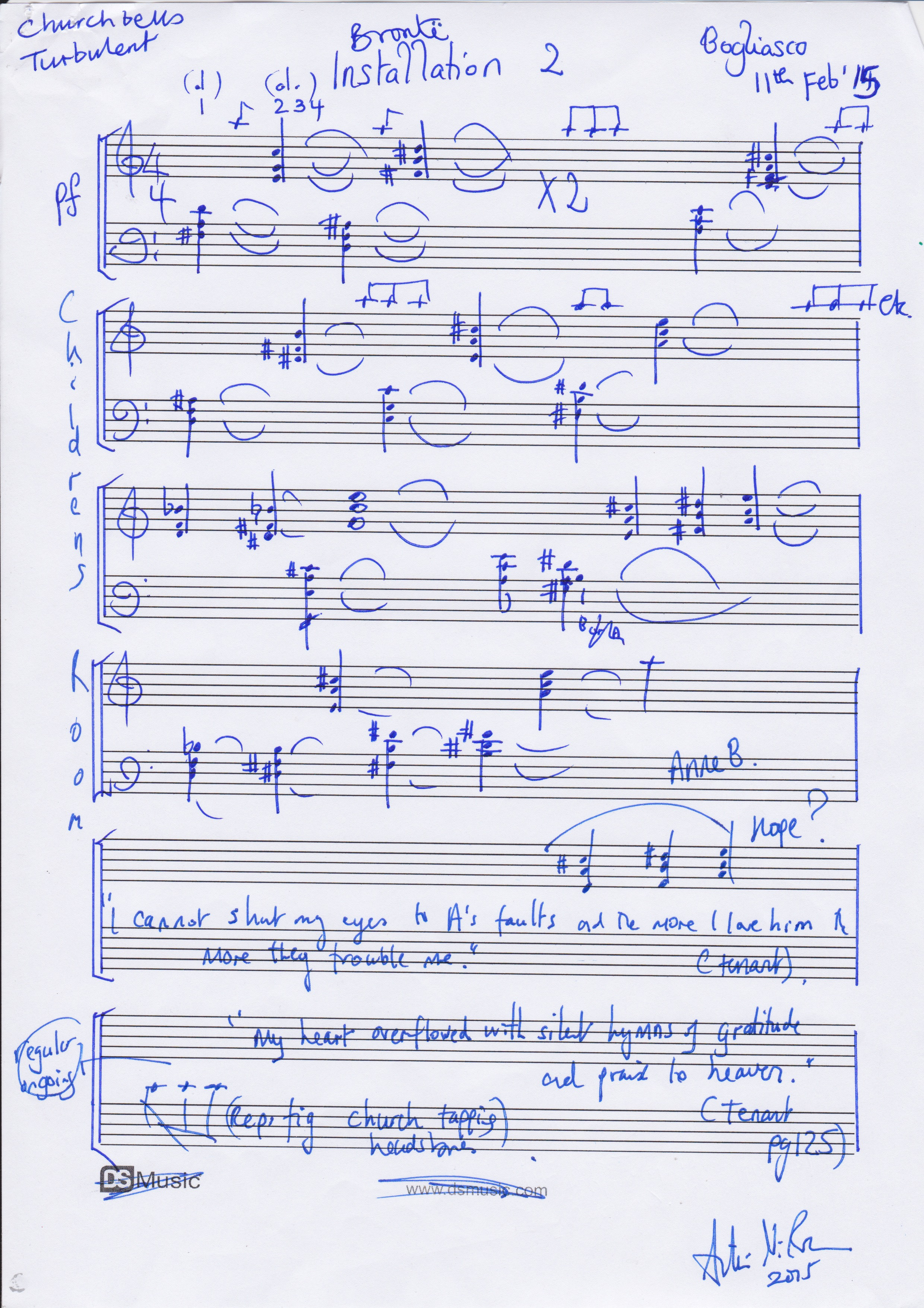 Original draft score for part of Linger